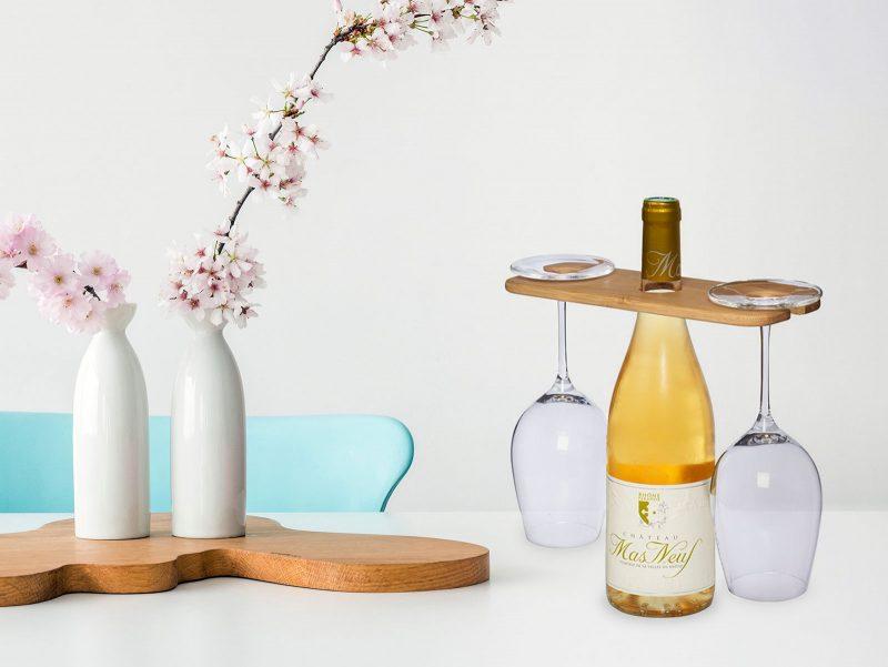 Eco držač boce i čaša za vino od bambusa
