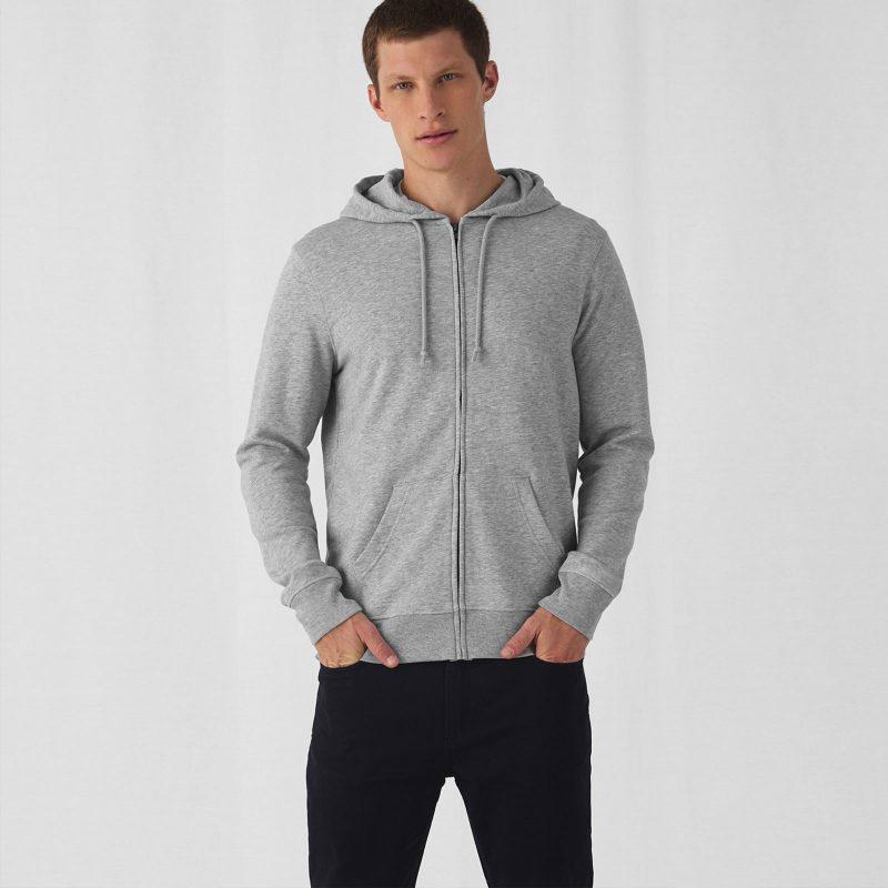 Muška majica sa kapuljačom Organic Zipped Hood B&C