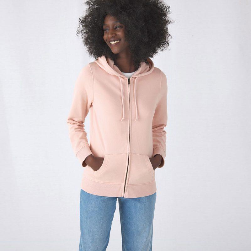 Ženska majica sa kapuljačom Organic Zipped Hood B&C