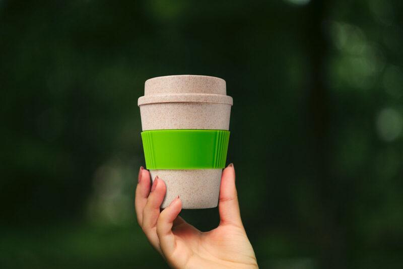 Promotivna eco čaša s poklopcem od pšenične slame Oka, 350 ml